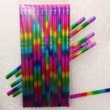 12 pièces/ensemble créatif arc-en-ciel crayon naturel bois environnement brillant crayons pour lécriture école fournitures de bureau crayon noir