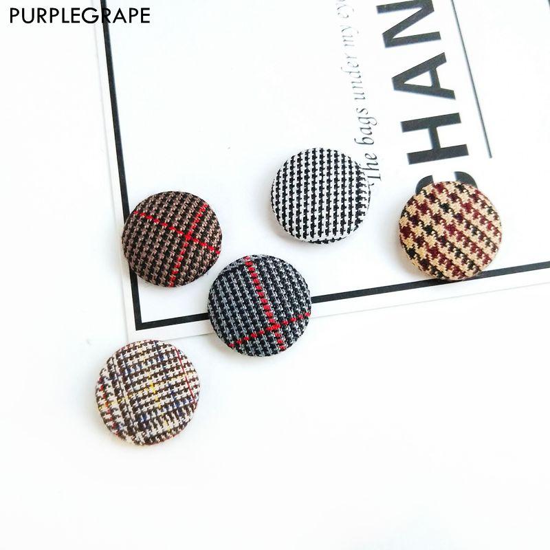 10pcs Cloth Button Diy Earrings Jewelry Accessories Handmade Material Lattice Texture Temperament Minimalism
