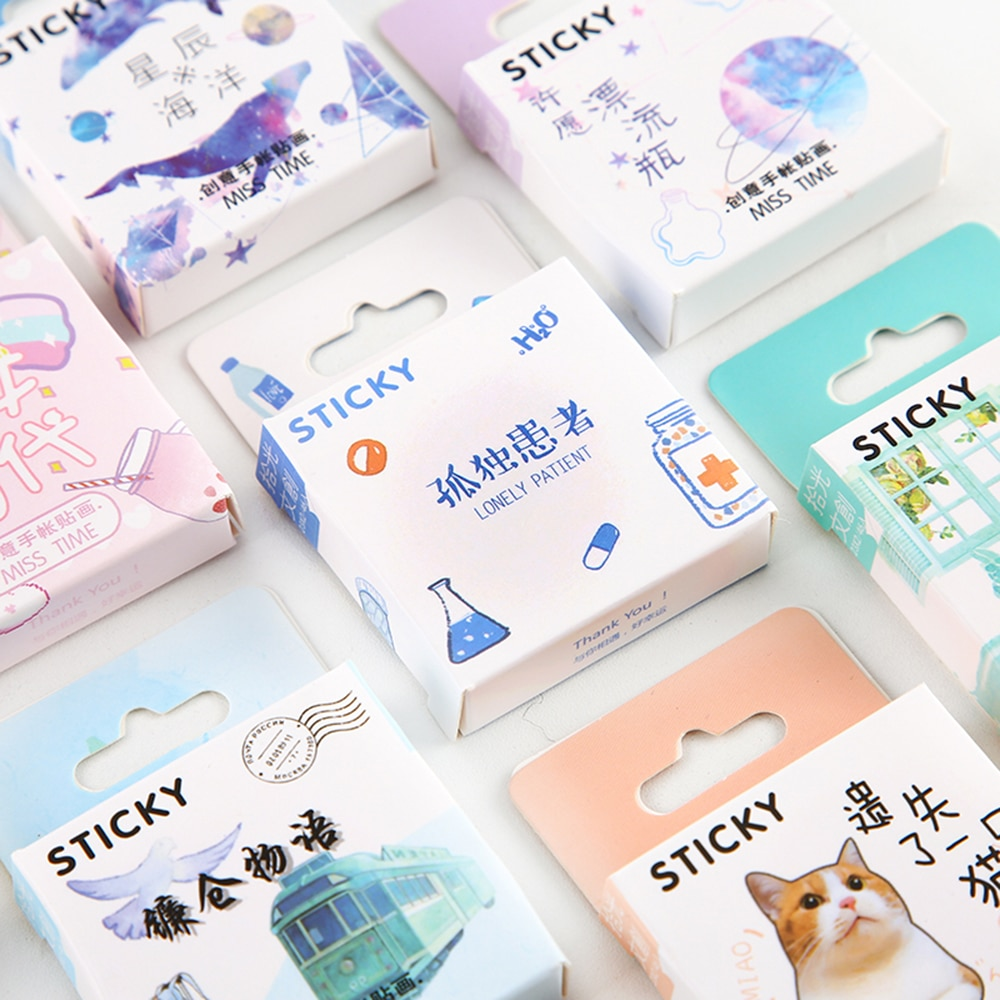 46 PCs/Box Kawaii Girl Generation Series Cute Boxed Stickers Flower Diary Label Planner Scrapbooking