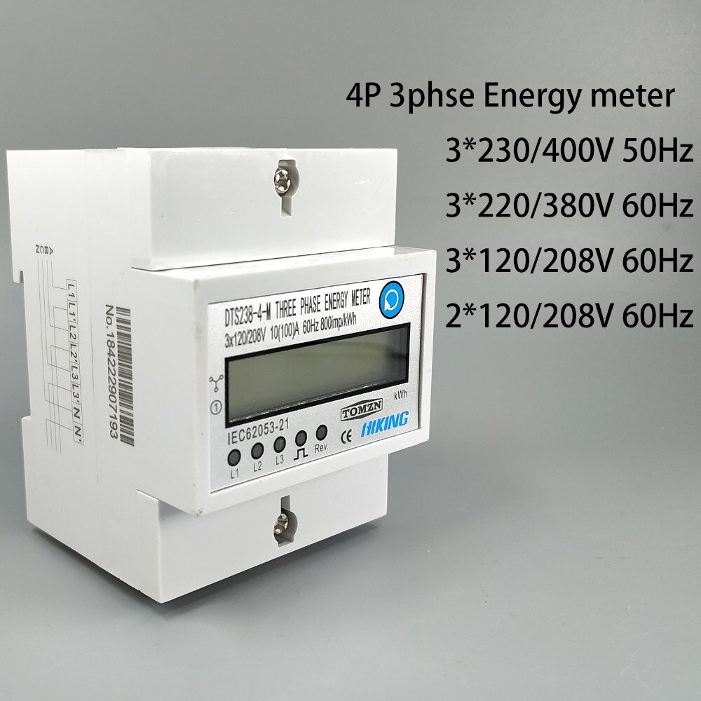 4P 10(100) عداد طاقة ثلاثي الأطوار Din-rail KWH ، LCD 3*230/400V 3*120/208V 3*220/380V 2*120/208V 50Hz 60Hz