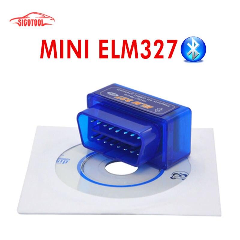 100 pçs/lote menor preço elm 327 bluetooth v2.1 obd ii funciona no android torque ferramenta de diagnóstico automático elm327 mini bluetooth