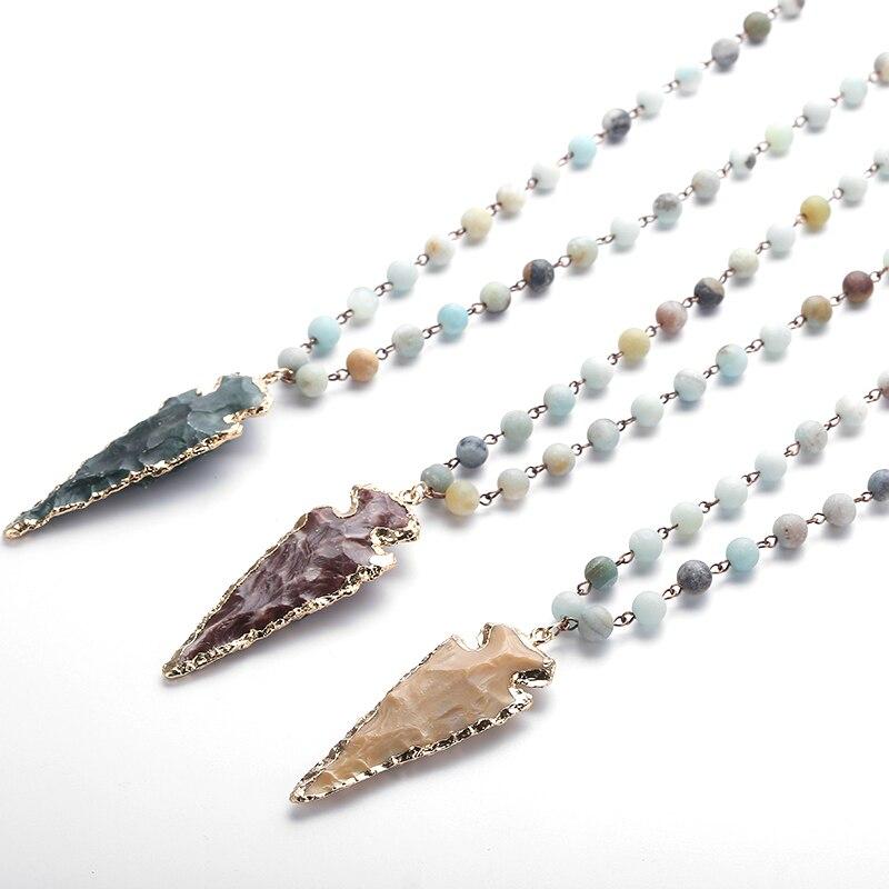 Moda amazonita pedras rosário corrente arrowhead pingente colar artesanal feminino pedra natural talão pescoço