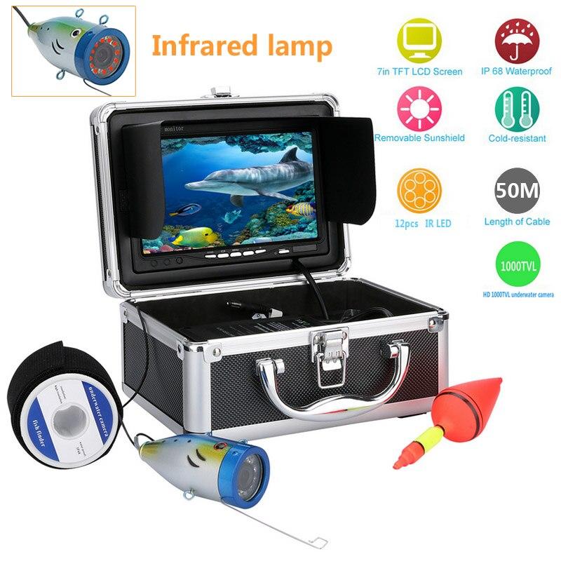 "GAMWATER 7 ""HD 1000TVL vídeo de pesca submarina Cámara Kit 12 Uds Lámpara de infrarrojos luces vídeo buscador de peces Cámara 15M 20M 30M 50M"