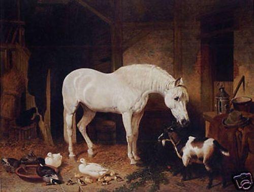 Pintura al óleo alta caballo cabra pato 24x36