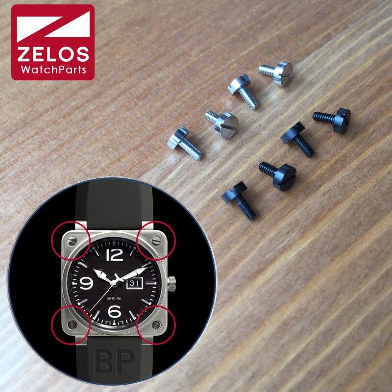 4 unid/set 3,9mm negro mate PVD/plateado BR reloj bisel tornillo para Bell Ross BR01 46mm reloj bezels inserta tornillo piezas y herramientas