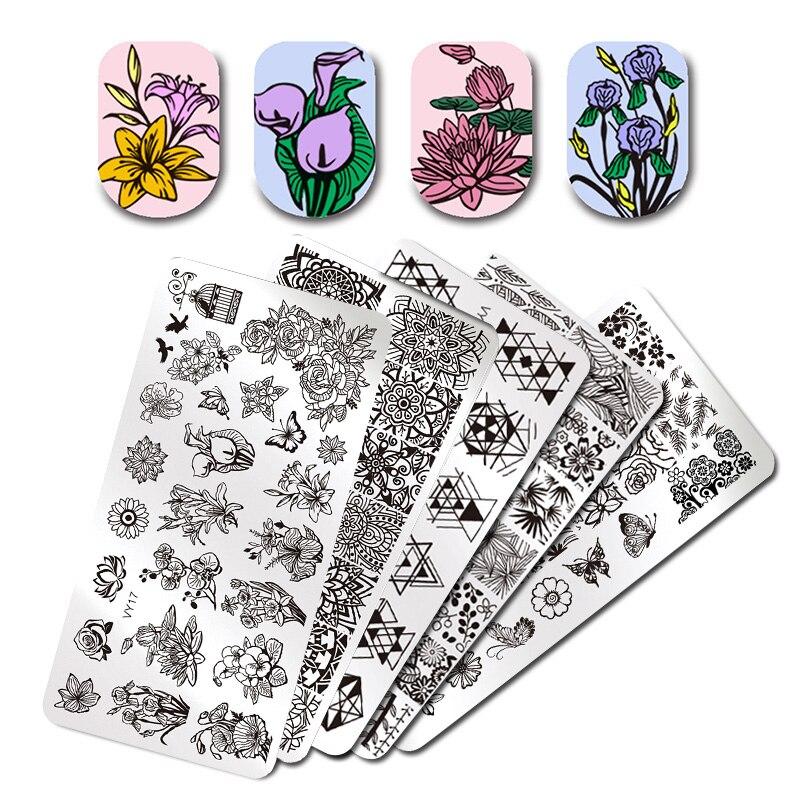 Pandox placas de estampado de uñas animales serie gatos lindos planta arte uñas imagen Plantilla de manicura plantillas decoración de uñas