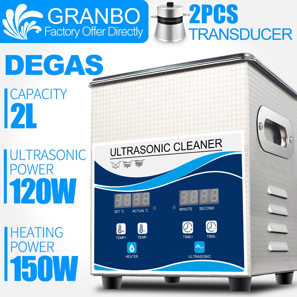 Фото - Granbo Digital 2L 120W Ultrasonic Cleaner with DEGAS Heating Bath For Dental Watches Glasses Coins Tool Part Remove Carbon degas a passion for perfection