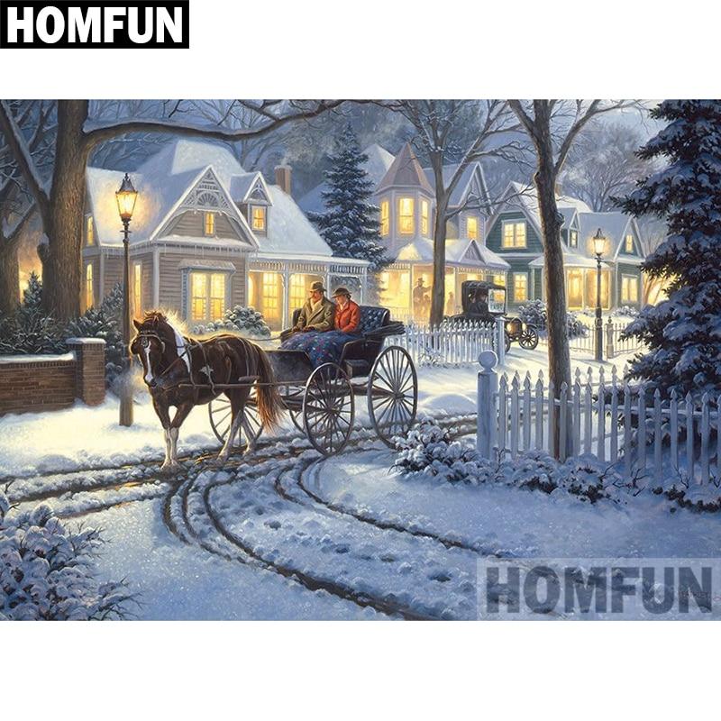 "HOMFUN taladro cuadrado/redondo completo 5D DIY pintura de diamante ""Casa de carro"" bordado punto de cruz 5D decoración del hogar regalo A03981"
