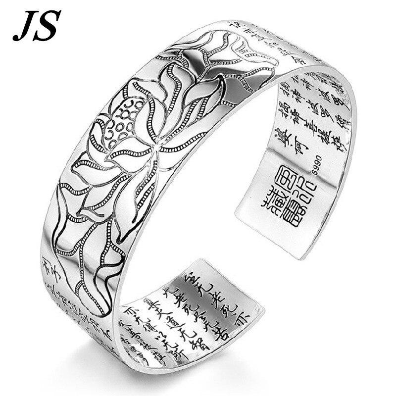 Bon marché ouvert large argent manchette Bracelet Bracelet femmes chinois bouddhiste écritures bouddha bijoux à la main Bracciale Uomo SB024