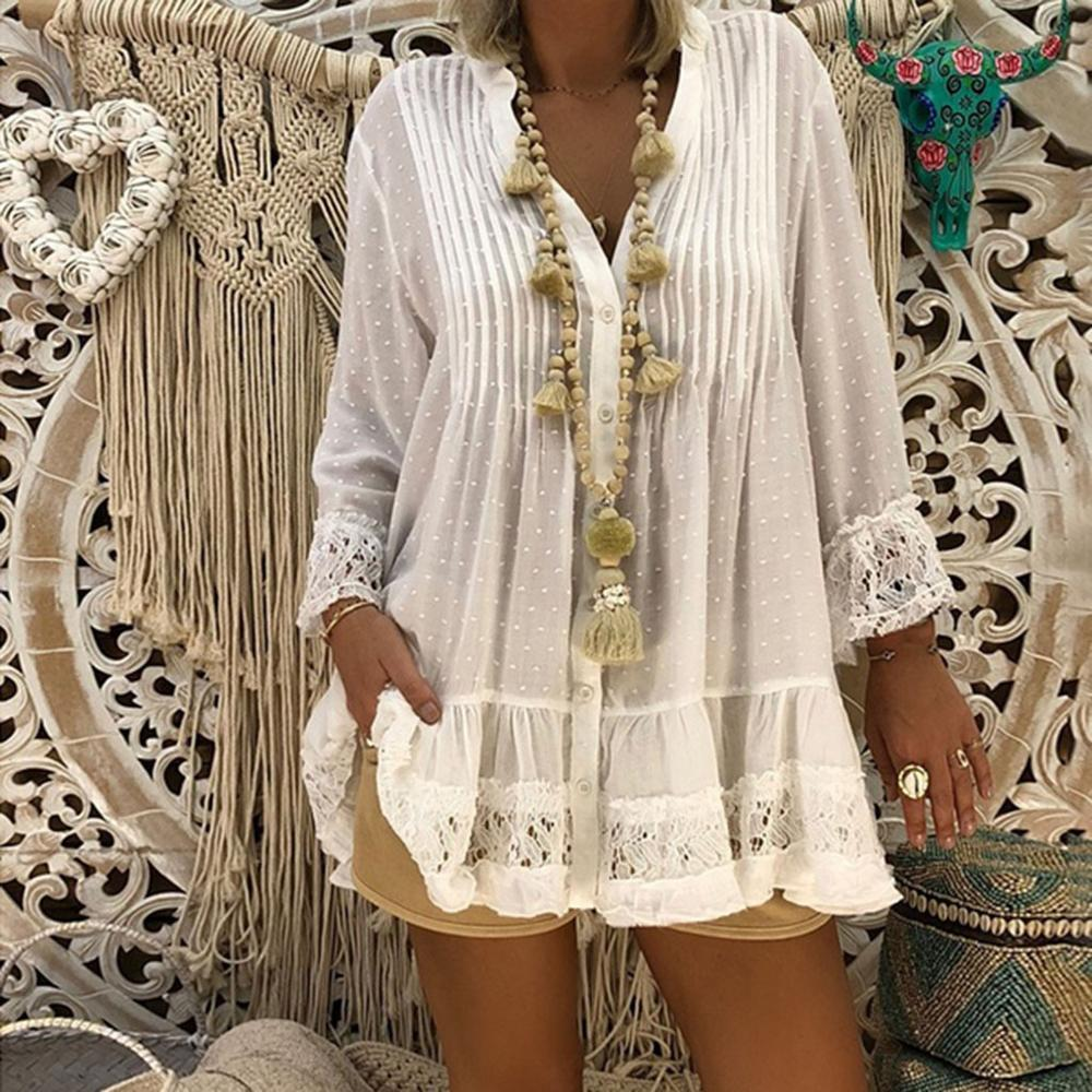 Tops y blusas para mujer de talla grande con cuello de pico, ropa de mujer estilo caftán bohemio, blusa holgada Vintage Hippie para mujer