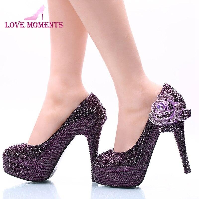 Zapatos de vestir de mujer de nuevo estilo, Diamante de imitación morado con Boda nupcial de rosa, zapatos de tacón alto, bombas de graduación cenicienta de talla grande