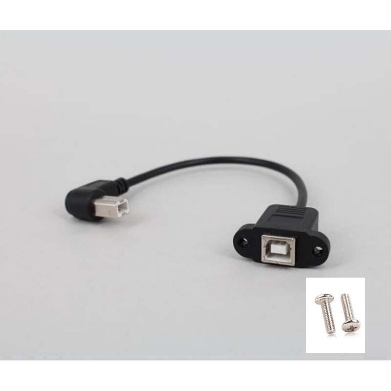 10 Uds 90 ° USB2.0 hembra a escáner de impresora B Cable macho Cable de plomo y tornillo de bloqueo g