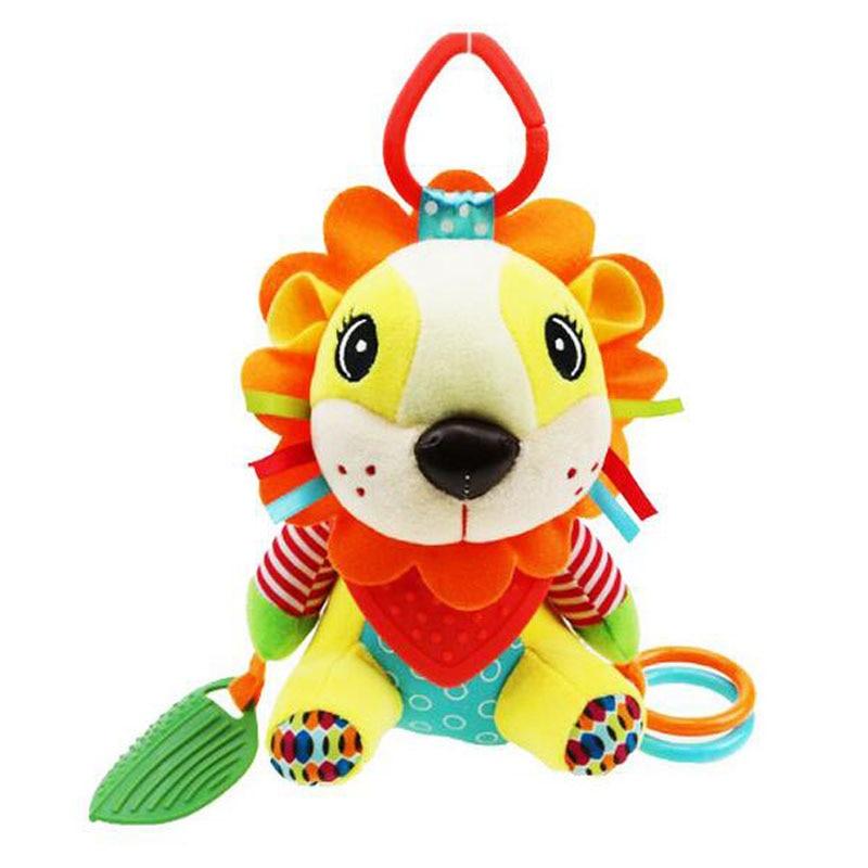 Sonajeros para bebés, sonajeros de mano, animales de dibujos animados, elefante, León, mordedor, muñeco de peluche infantil, móviles, juguetes educativos para recién nacidos, regalo