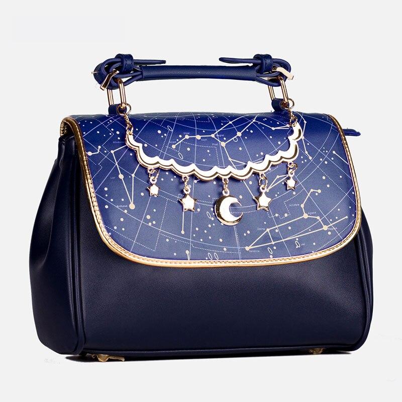 Bolso de mano de Lolita con estampado de constelación, bolso bonito con colgante de luna y estrella