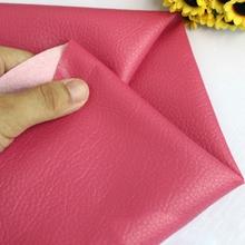 Tissu Patchwork Faux cuir   Couleur unie Rose rouge, tissu de tapisserie en cuir PU, bricolage, impression, matériel de coulis pour sac