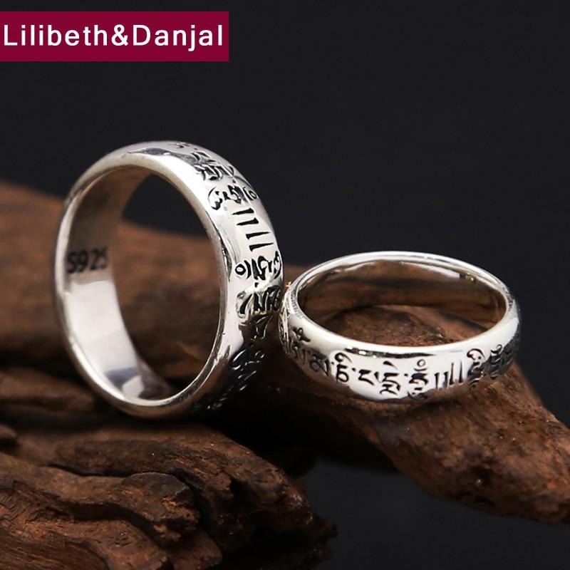 Кольцо для мужчин из серебра 925 пробы, Винтажное кольцо для помолвки с тибетскими цифрами и мантрой, R8