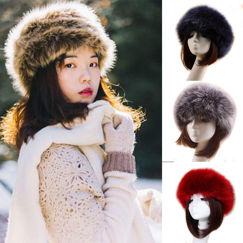 Gorro de piel sintética gruesa Unisex, diadema euroamericana, gorro de esquí cálido para invierno, banda para cabeza y cabello de felpa