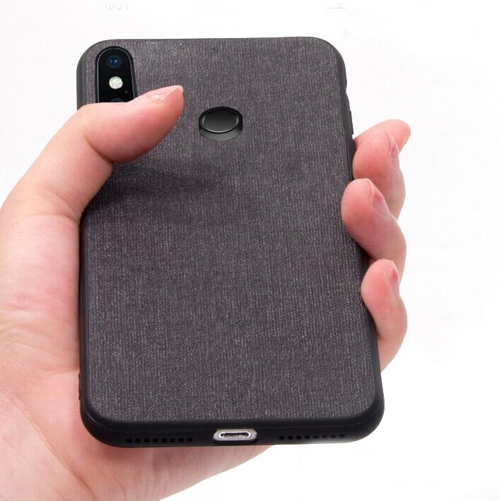 For Xiaomi Mi 8 Case Luxury Skin Coque Silicone edge fabric back cover protective cases for xiaomi m