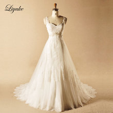 Alluring Tulle Sweetheart Sweep Train Spaghetti Straps A Line Wedding Dress Appliques Backless Vestido De Noiva Liyuke X185