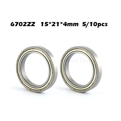 5/10 peças 6702zz rolamento ABEC-1 15x21x4mm seção fina 6702 zz rolamentos de esferas 61702 zz 6702z gcr15 rolamento de aço