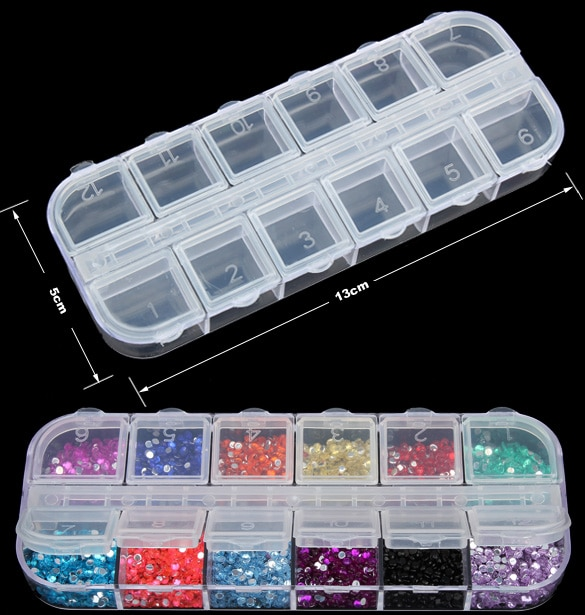 12 herramientas desmontables de plástico transparente con diamantes de imitación para decoración de uñas, caja de almacenamiento para exhibición de joyas, caja organizadora con cuentas HG99
