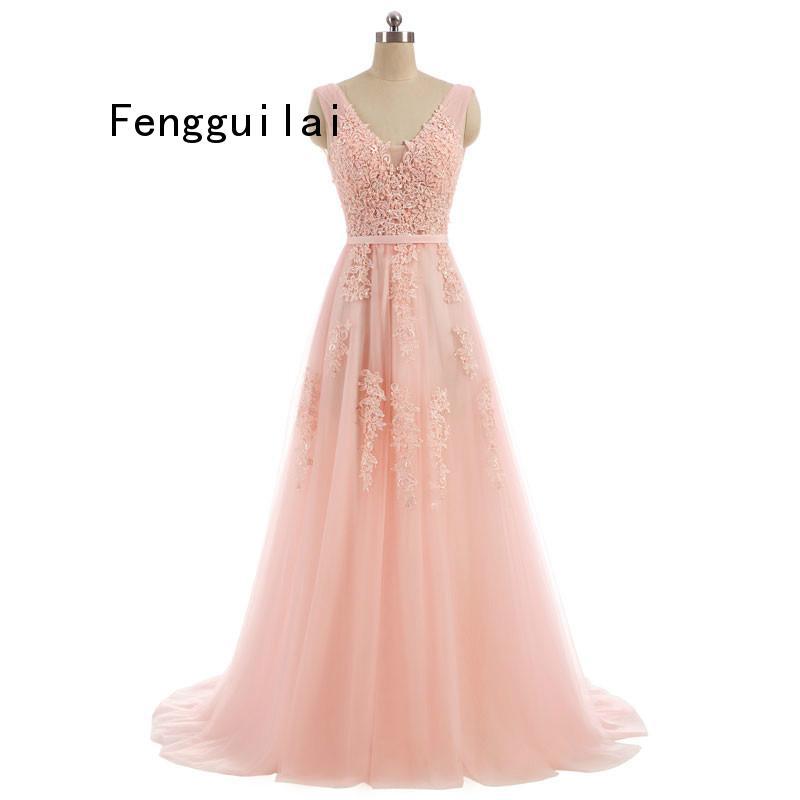2019 Vestido De Festa Sweet Lace V-neck Long Dress Bride Party Sexy Backless beads pearls Vestido