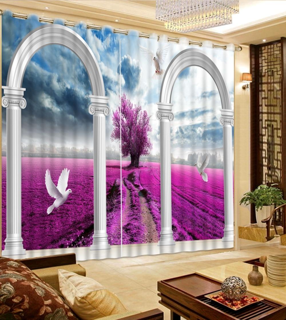 Cortinas largas, cortinas opacas, cualquier tamaño, Mar de flores, palomas, cortinas de sala de estar, ventana, cortina, dormitorio