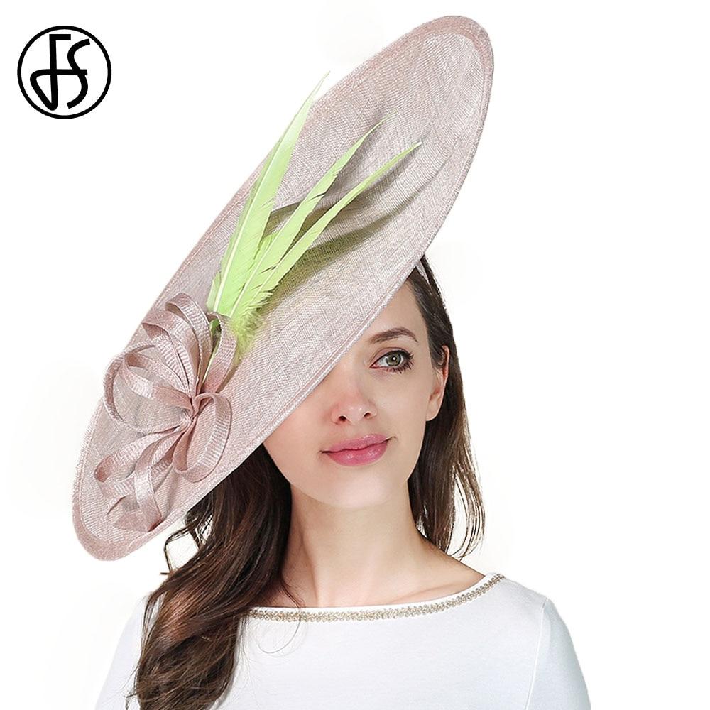 FS Sinamay Kentucky Derby Hat For Women Elegant Church Wedding Hats Formal Vintage Large Big Fascinator Summer 2018