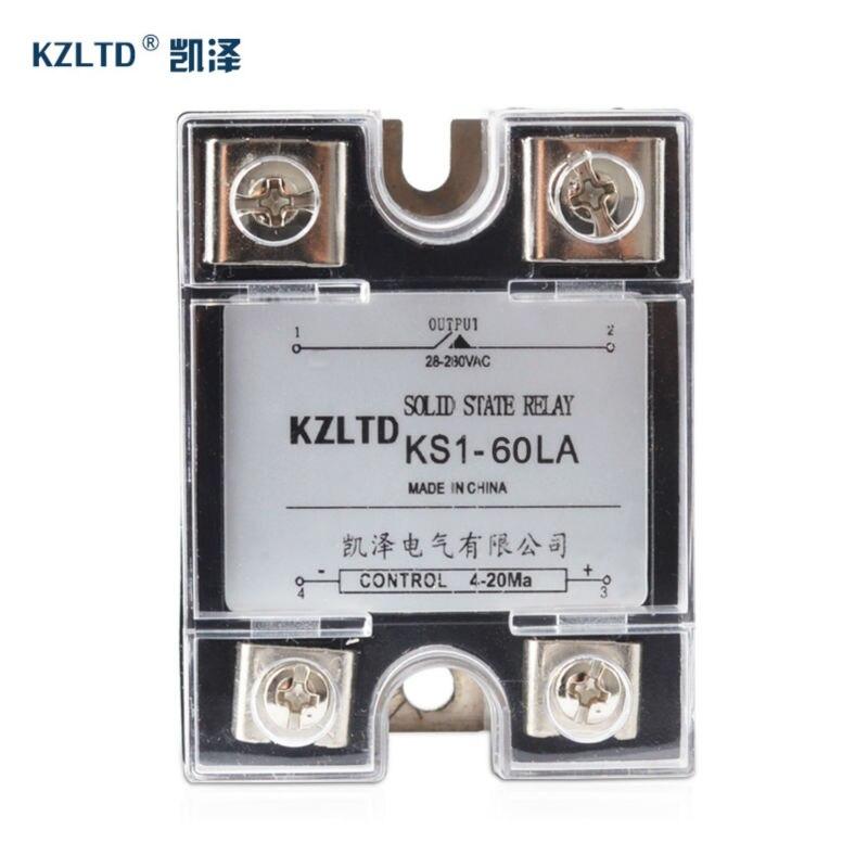 SSR-60LA ssr الحالة الصلبة-التبديلات 4-20MA إلى AC الناتج 28 ~ 280V AC مرحلة واحدة الجهد منظم rele 220v 60a w/البلاستيك الضميمة