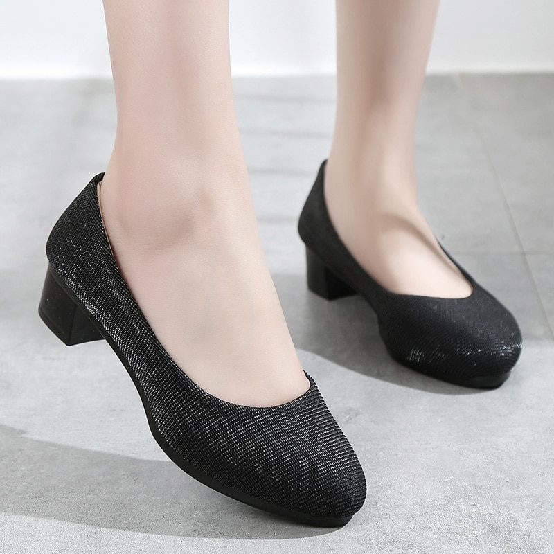 Zapatos de trabajo de tela para mujer con herramientas negras ZAPATOS DE TRABAJO gruesos con fondo suave zapatos de mujer cómodos profesionales