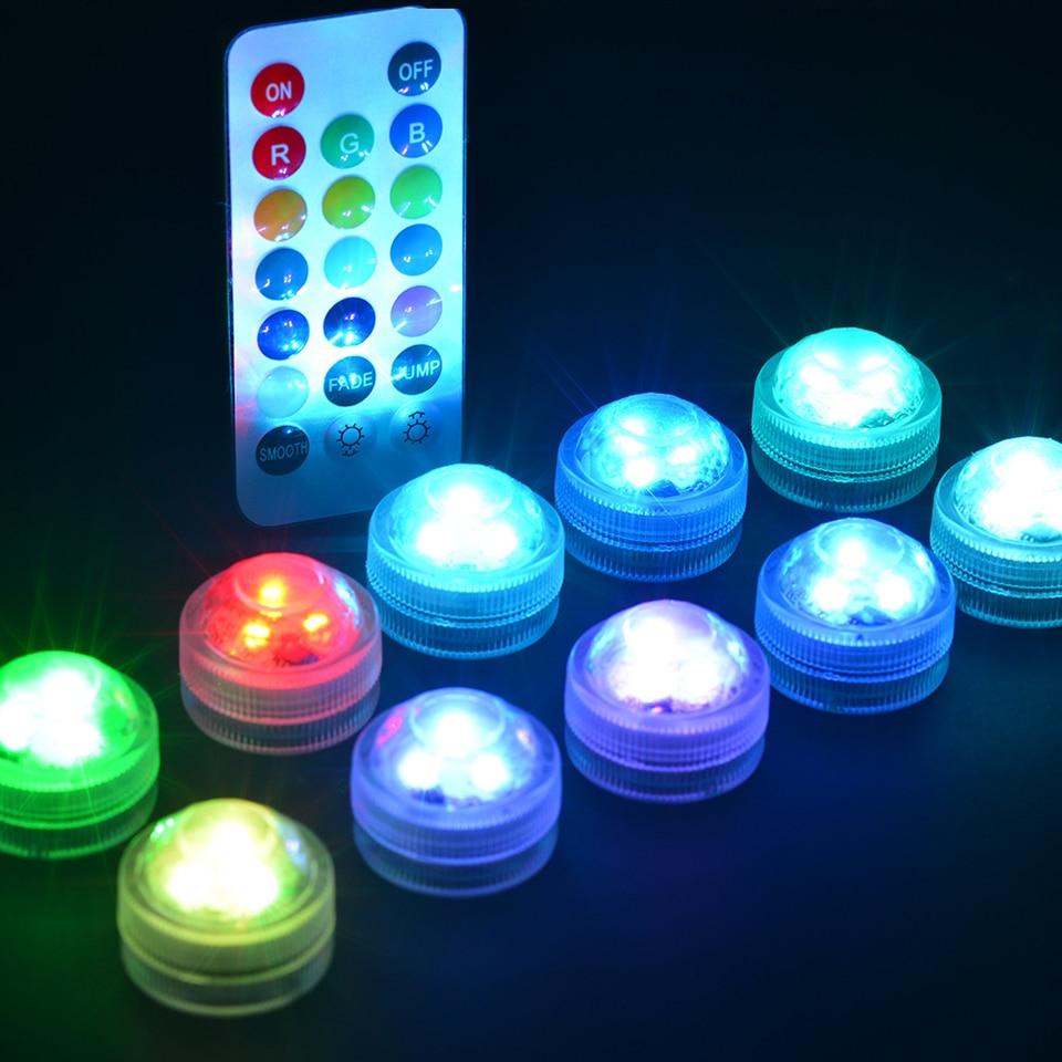 Submersible LED Lights Waterproof RGB Underwater Light For Wedding Tea Light Hot Tub Pond Pool Batht