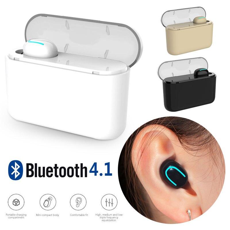 Cewaal con caja de carga un solo auricular Bluetooth llamadas auriculares invisibles Redial inalámbrico Bluetooth auriculares Mini bajo