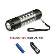 portable light camping tourism mini torch cob CREE XM L T6 led flashlight waterproof flash light 18650 rechargeable battery