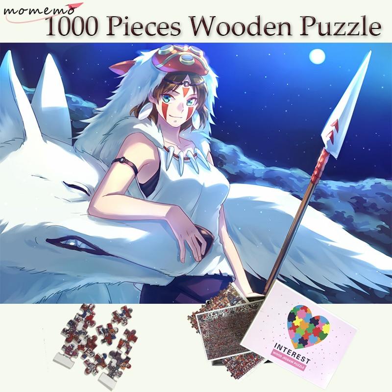 MOMEMO-أحجية الصور المقطوعة من الخشب Mononoke ، 1000 قطعة ، أحجية بنمط كرتوني للفتيات والذئب ، ألعاب للكبار
