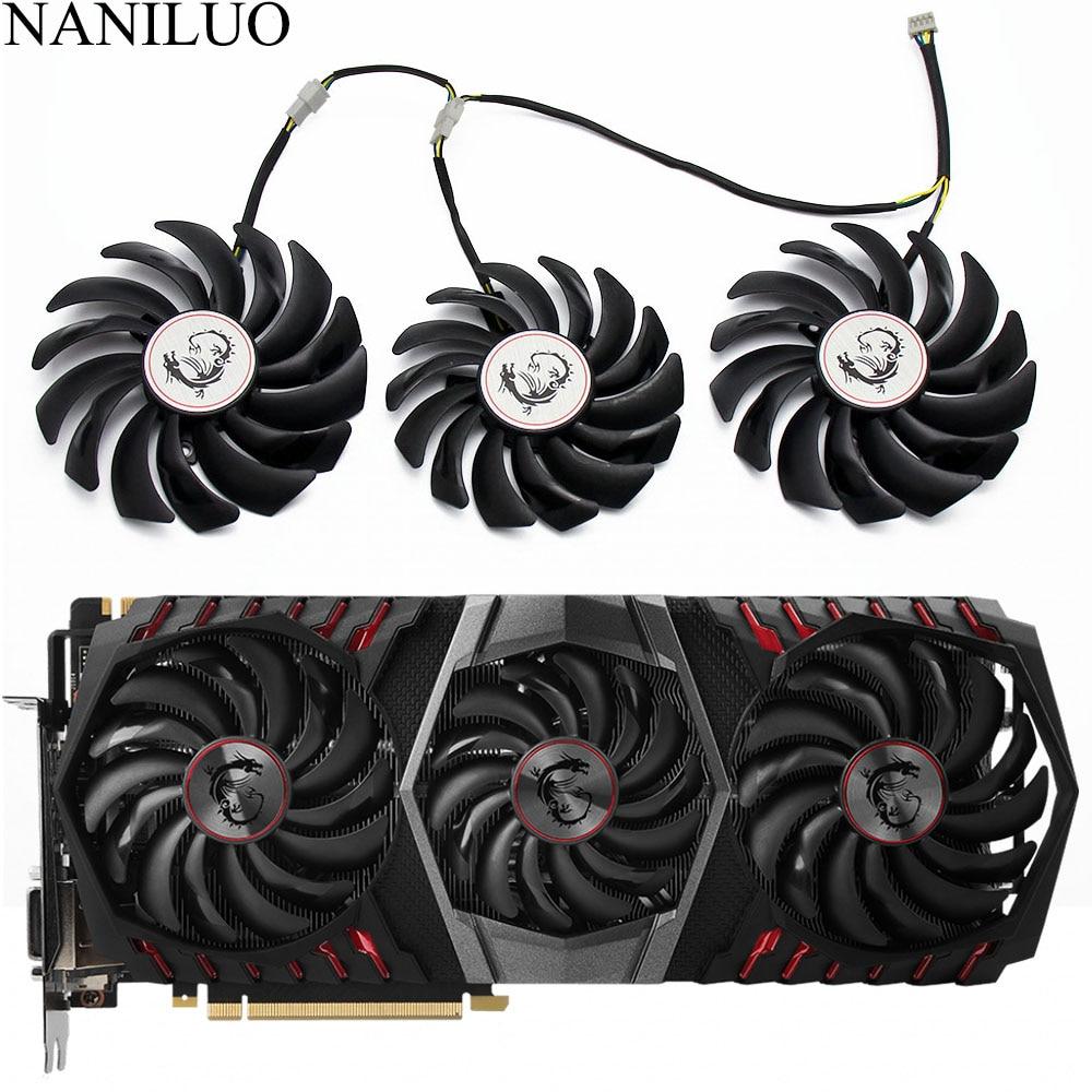 Nuevo PLD10010S12HH PLD09210S12HH 4Pin reemplazo del ventilador del refrigeración para MSI GEFORCE GTX 1080 Gaming X trío tarjeta de gráficos de los ventiladores de refrigeración