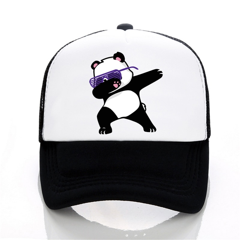 Mode Männer Frauen Baseball caps Mesh Die Tupfte Panda Kappe Sommer Cartoon panda Mesh Net Trucker Cap Hüte