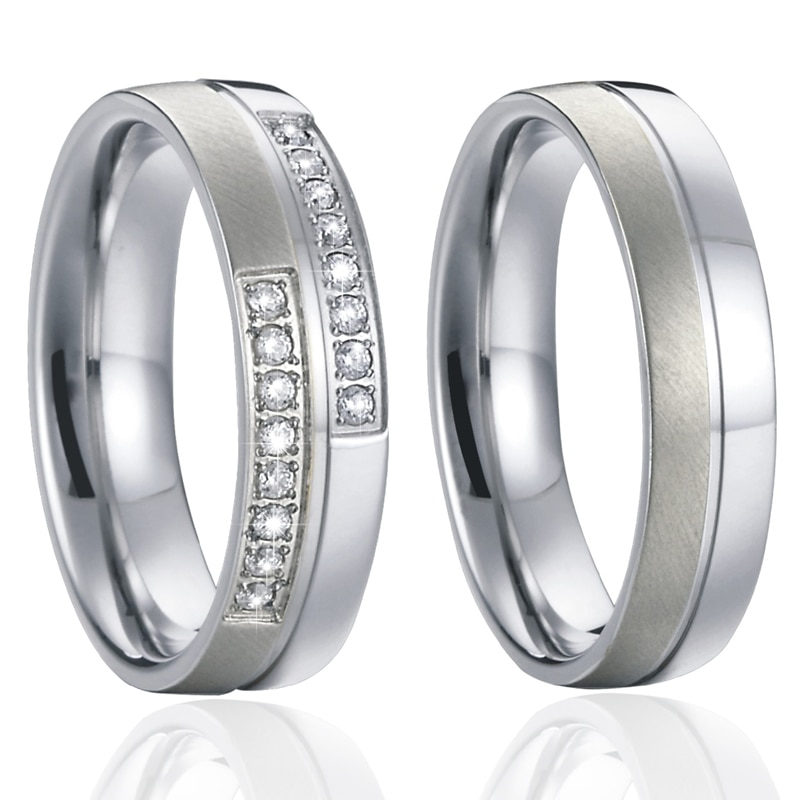 Aliança de amor cor prata cz casamento casal anéis de casamento conjunto para homem e mulher titânio anel de jóias de aço inoxidável