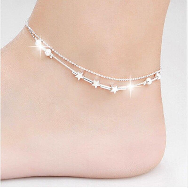 Cadena de pulsera de tobillo para mujer de pequeña estrella, sandalia descalza, joyería para pie de playa, aleación de plata, 25 cm, tobillera enkelbandje D #
