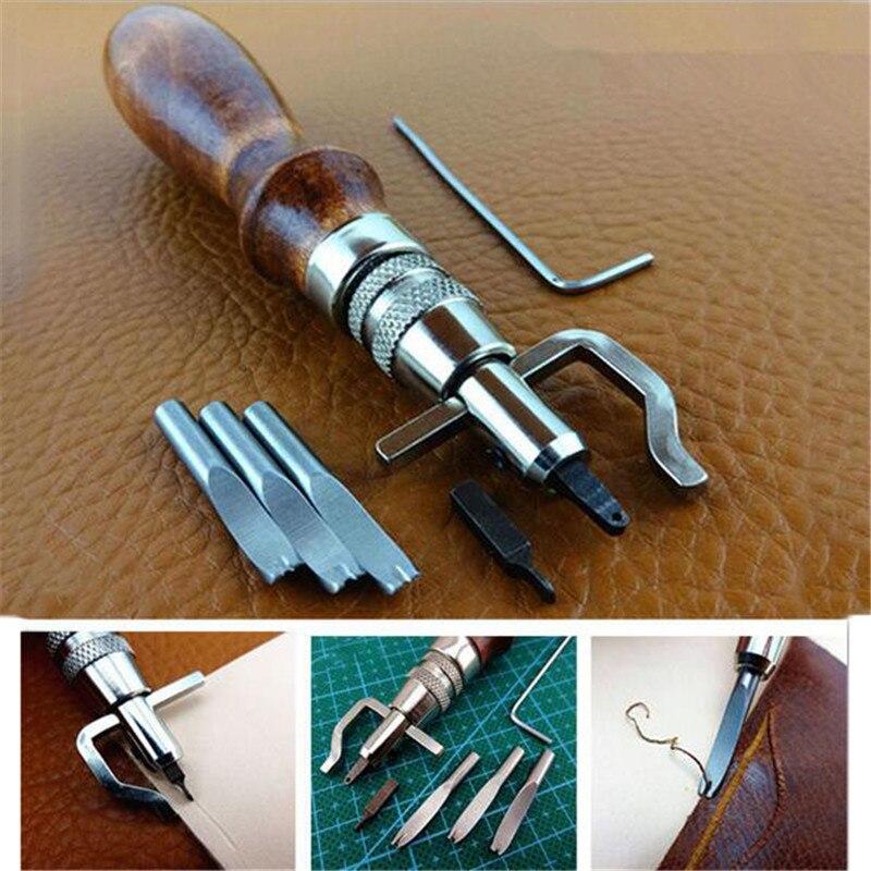 7 в 1 набор Pro кожевенное ремесло Регулируемая строчка и груша Crease кожаный инструмент DIY ручной работы практичный