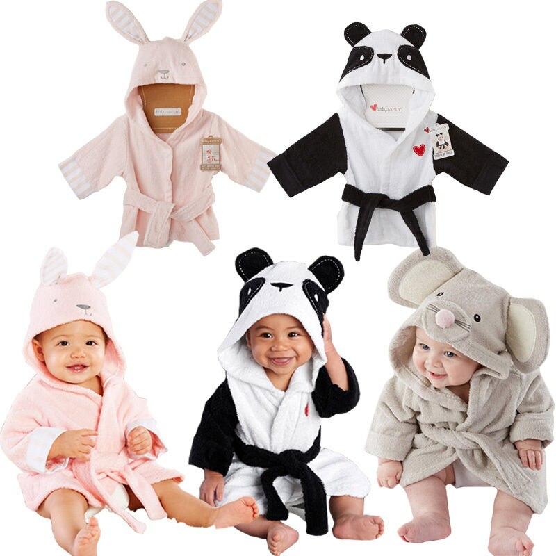 Focusnorm Baby bademantel Kinder kinder Pyjamas Panda Maus Kaninchen bad robe baby homewear jungen mädchen mit kapuze robe strand handtuch freies