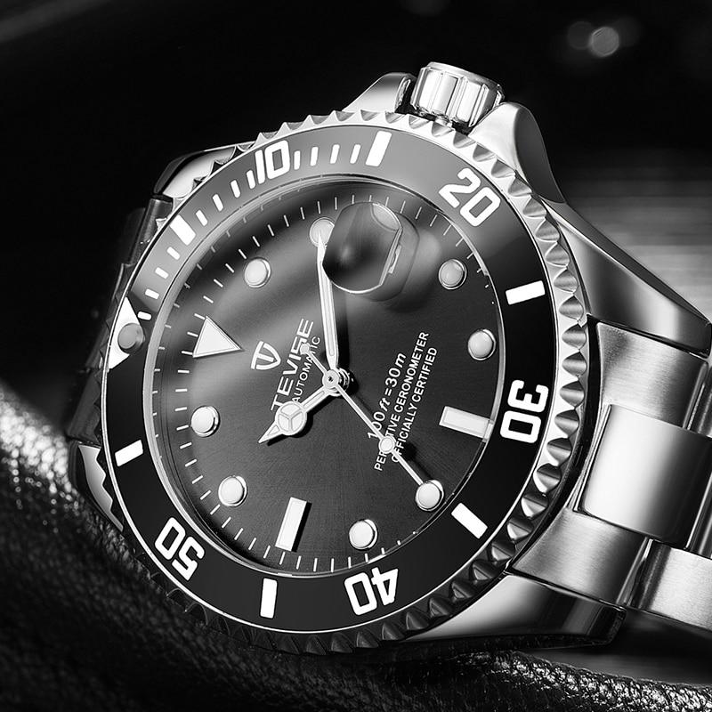 Luxus Marke TEVISE Automatische Mechanische Uhren Wasserdicht Diver männer Uhren Männlichen Selbst-wickel Armbanduhr Relogio Masculino