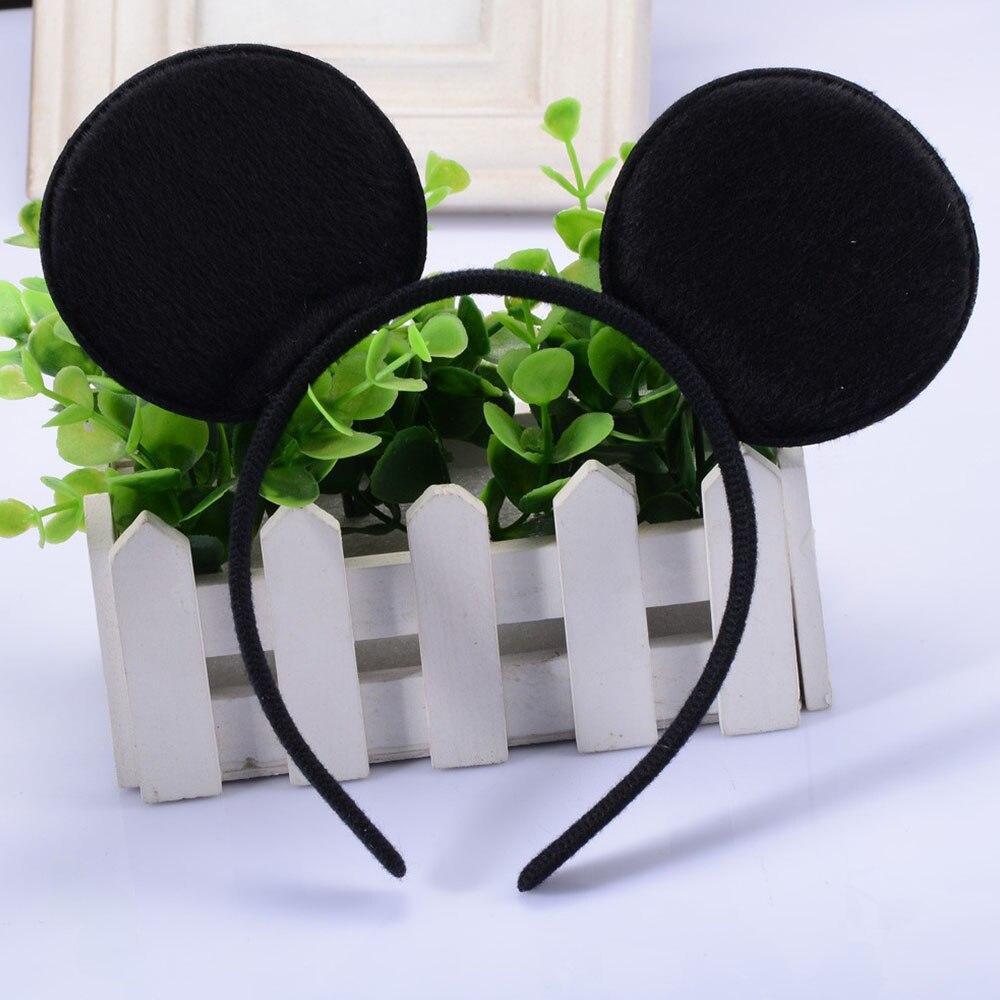 1 unids/lote de orejas de Minnie Mickey con lazo de lentejuelas brillantes en negro/Blanco/RAYA ROJA y Diadema de lunares para niñas Minnie diadema de ratón