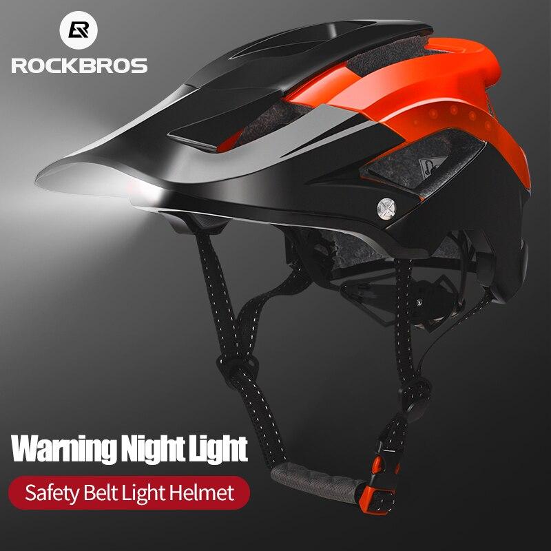 ROCKBROS Bicycle Light Helmet Intergrally-molded Bike Headlamp Cycling Helmet Sports Safety Men Women MTB Bike Helmet Equipment