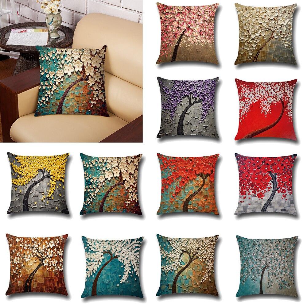 Nueva funda de almohada de algodón con estampado tridimensional de árbol nórdico, decoración del hogar, funda de almohada de 45x45cm, funda de cojín para sofá y coche