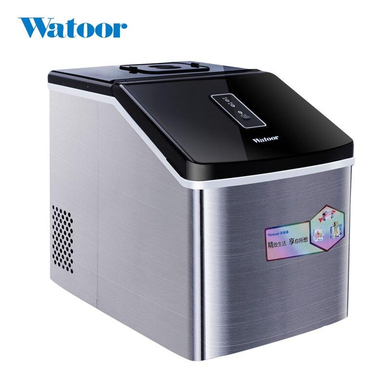 Máquina Eléctrica de hielo de 220 V, Manual de acero inoxidable para agregar agua, máquina doméstica o comercial de cubitos de hielo, enchufe europeo/AU/UK/US