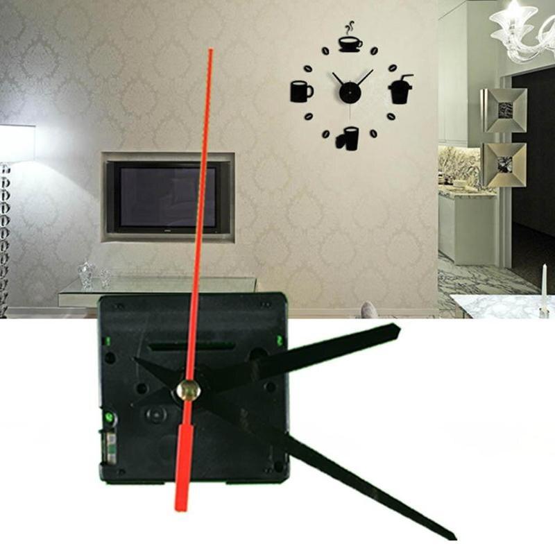 Reloj de pared grande silencioso mecanismo de movimiento de cuarzo negro y manecillas Rojas Kit de reparación conjunto de herramientas con gancho de alta calidad