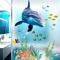 Autocollants muraux en Pvc pour enfants  dessin anime danimaux  pour la decoration de la maison  la salle de bain  la cuisine  les aquariums  les poissons  les dauphins