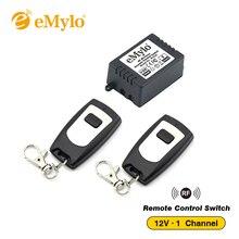 EMylo DC 12 V Intelligente Lern Schalter, drahtlose Fernbedienung Lichtschalter Schwarz & Weiß Typ 2X Sender 1 Kanal Relais 433 Mhz