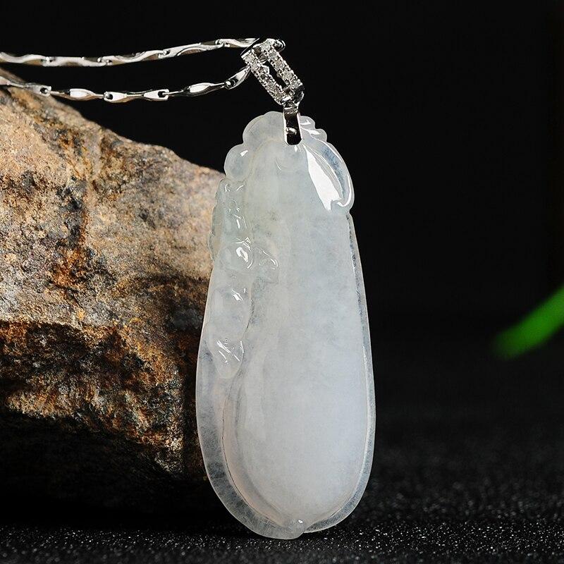 Hielo blanco jade una mercancía jade Fugua jade colgante birmano jade Semilla de hielo multi-niño multi-funded colgante collar con certificado