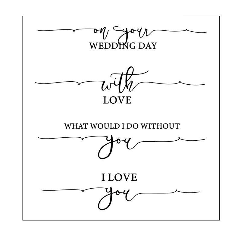 Sellos de goma de las palabras de la boda del amor 14x14 sellos transparentes claros de silicona para álbum para recortes de fotos fabricación de tarjetas